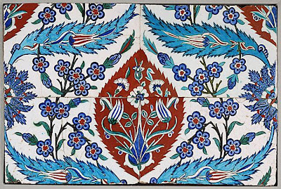A Panel of Four Tiles | Origin: Turkey, Iznik | Period:  1580s | Collection: The Edwin Binney, 3rd, Collection of Turkish Art at the Los Angeles County Museum of Art (M.85.237.86a-d) | Type: Ceramic; Architectural element, Fritware, underglaze painted, Overall: 21 1/16 x 14 9/16 in. (53.50 x 36.99 cm)