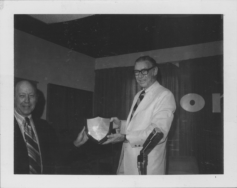 ONE Incorporated honors former Southern California ACLU executive director, Dr. Eason Monroe. Plaque presented by W. Dorr Legg (left). 1972.