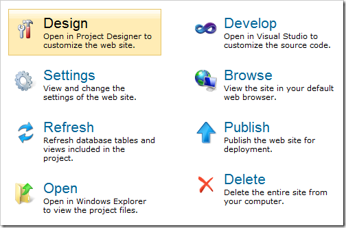 Project actions available in a Web Site Factory project created with Code On Time web application generator