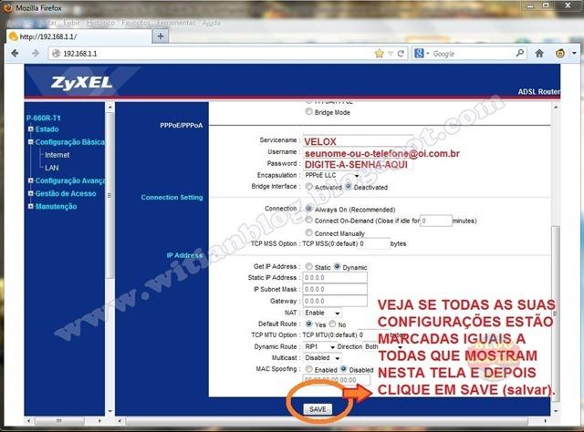 4 - SALVANDO a Configuração e Roteamento - Modem ADSL ZyXEL P-660R-T1 v3s, configurar e rotear para conectar automaticamente na Oi – Velox - Witian blog