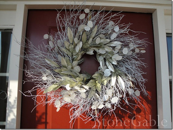 Winter wreath--willow wreath with silver leaves