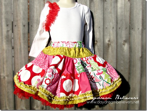 the bees knees christmas pettiskirt with chiffon ruffle top handmade