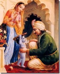 Lord Krishna with parents in Vrindavana