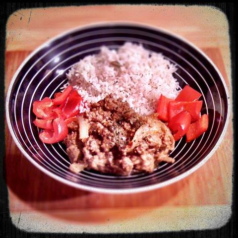 Lamb dopiaza with basmati rice