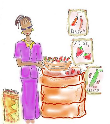 Mozambique Market (sketch by susan nash)