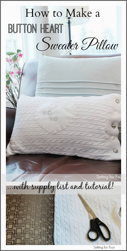 How to Make an Easy DIY Button Heart Sweater Pillow #diy #pillow