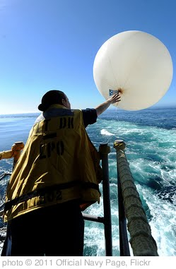 'Sailor releases a weather balloon on fantail aboard USS John C. Stennis.' photo (c) 2011, Official Navy Page - license: http://creativecommons.org/licenses/by/2.0/
