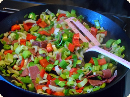 Grøntsager og oksebryst på panden...