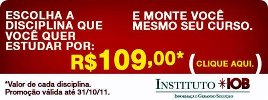 banner promoção disciplina por 109.00 - outubro 20111