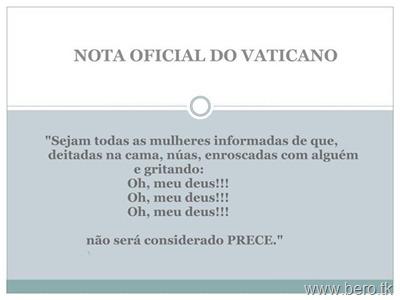 Nota Oficial do Vaticano para mulherada