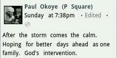 Paul Okoye's Facebook message
