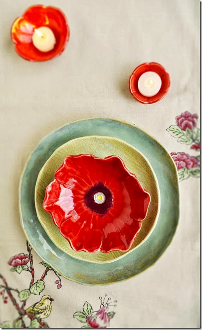 place setting with handmade dinnerware