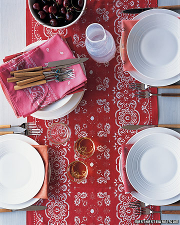 Just right for the Fourth of July -- this bright red, rugged bandanna-print table runner. <http://www.marthastewart.com/photogallery/patriotic-crafts#slide_29>