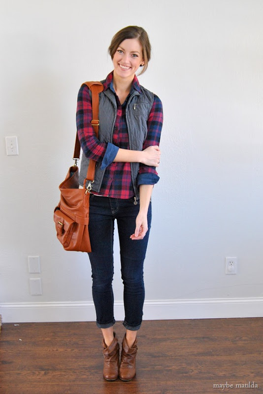 plaid + vest + skinnies // www.maybematilda.com