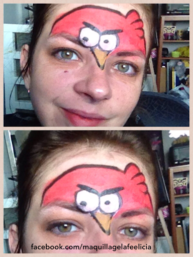 Angry birds red bird face painting
