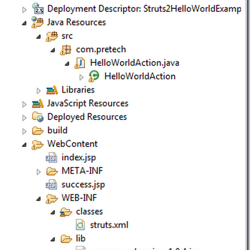 Struts 2 HelloWorld Simple Example