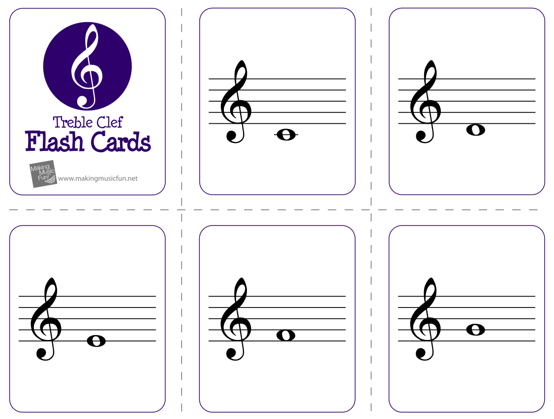 photograph about Printable Musical Note Flash Cards named treble clef - thumbgal