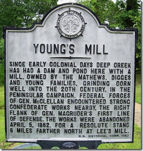 Second Young's Mill marker in Newport News, VA