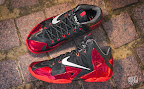 nike lebron 11 gr black red 10 02 New Photos // Nike LeBron XI Miami Heat (616175 001)