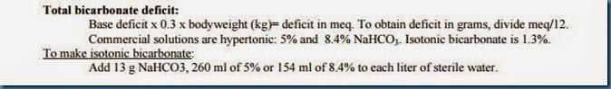 Bicarb Deficit Replacement Formula
