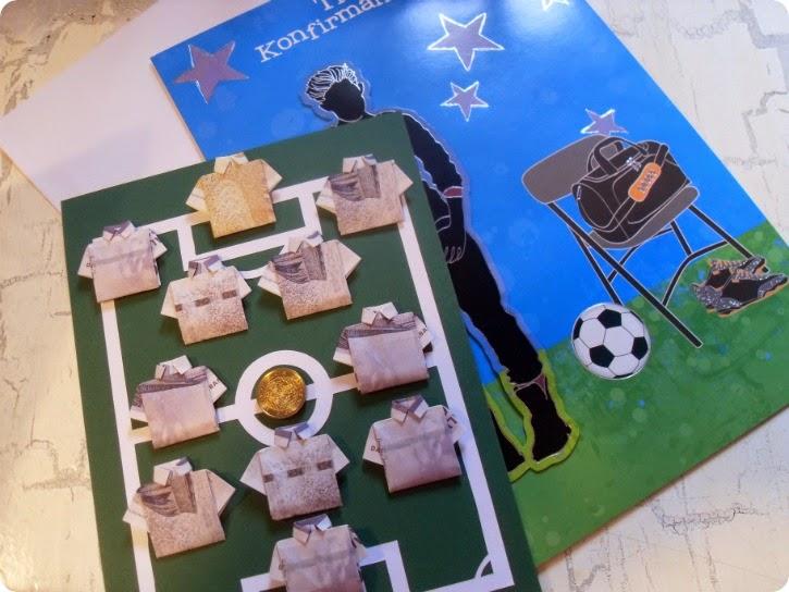 Fodboldspillende pengesedler til en fodboldspillende konfirmand