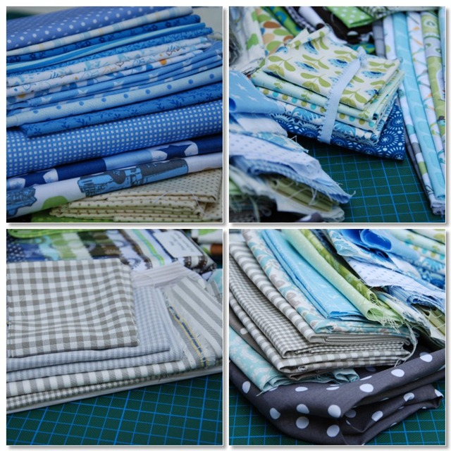 Blue and green patchwork quilt mosaic