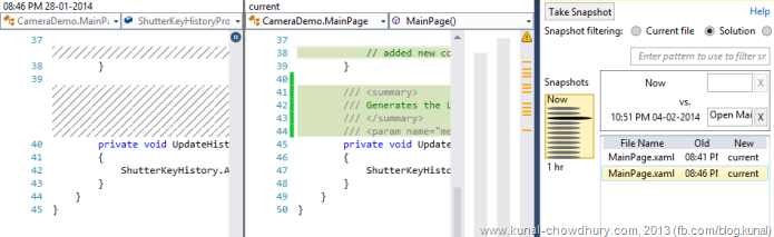 C# Code Change History in Visual Studio 2013 using Auto History Extension