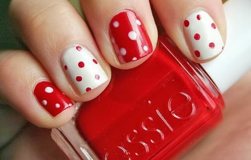 Red White Polka Dot Nails Red And White Nail Designs