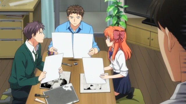 Wakamatsu, Hori, and Chiyo sit around Nozaki's table going over background composition and continuity