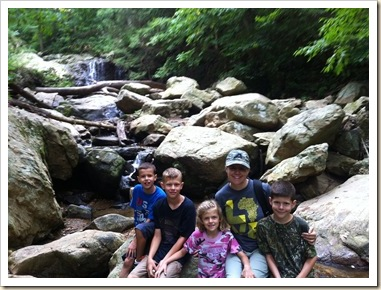 cole clan at waterfall