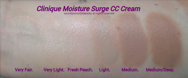 Clinique CC Cream; Moisture Surge, Hydrating Colour/Color Corrector SPF 30;  Review & Swatches of Shades