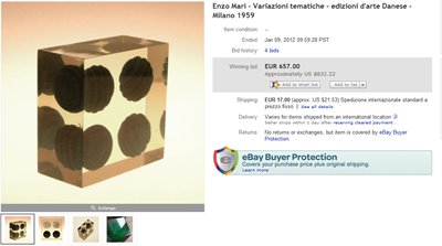 eBay final bid screenshot Enzo Mari Variazioni Tematiche sculpture