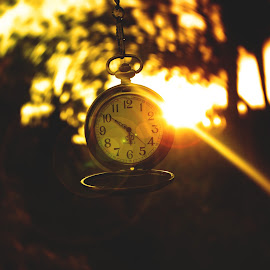 by Aja Crayton - Artistic Objects Antiques ( pocket watch, watch, sunset, twilight, gold, flare, bokeh, lens flare, golden, golden hour )