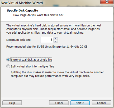 HANA VM needs 8GB for SUSE