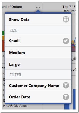 The user is able to change the size of the charts using the context menu in the top right corner of each chart.