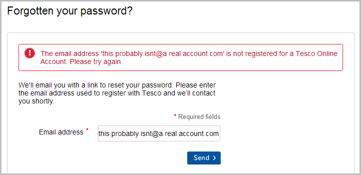 Message on the password reset saying the account does not exist