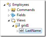 Last Name data field of grid1 view in Employees controller.