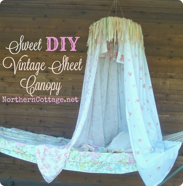 Sweet DIY Vintage Sheet Canopy {NorthernCottage}