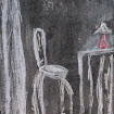 "' ""At the Bistro 2"", Monoprint/pastel"