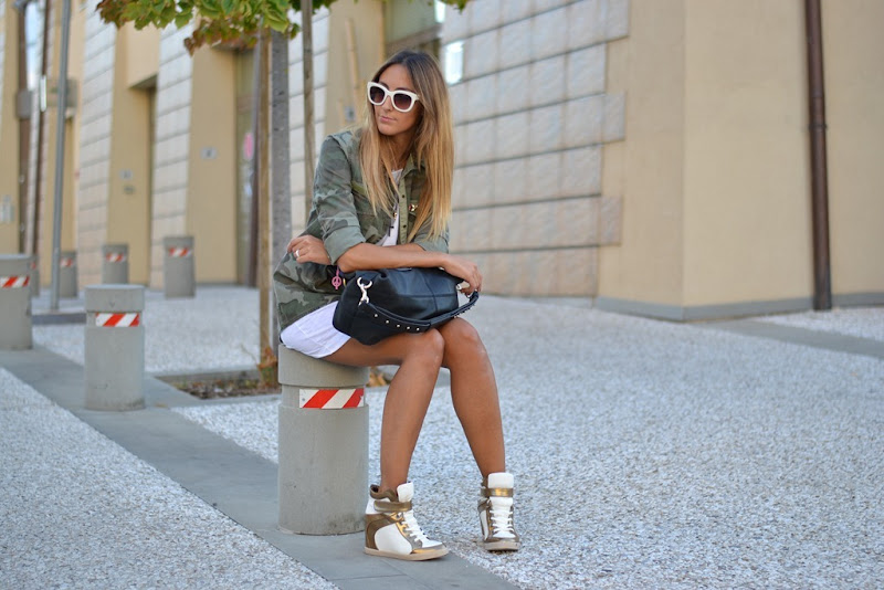 Wedge Sneakers, Wedge Trainers, Zara, Camouflage, Zara Camouflage, United Colors of Benetton, Benetton Dress