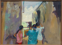 American Tourists in Lamu, oil on gessoed cardboard, image 10x7 1/2, framed 16x13