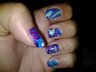 nail art water marbling marble pink purple blue green