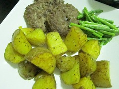 homemade burgers, buttered asparagus and roasted potatoes with turmeric, 240baon