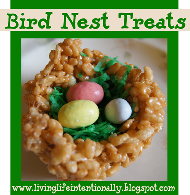 Rice Krispie Bird Nest Treats #recipes #spring #snacksforkids