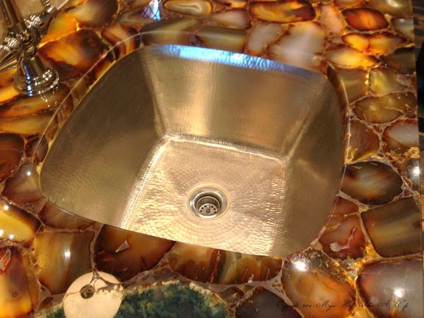 Agate Counter with hammered sink basin