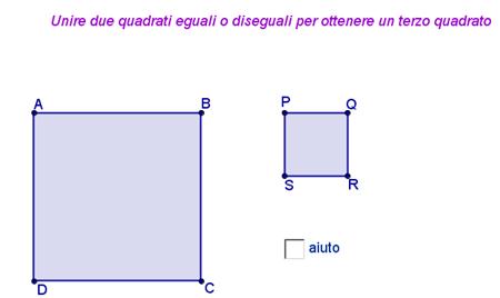 due quadrati per ottenerne un terzo