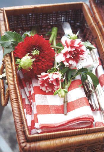 I love this Americana moment of dahlias and stripes.