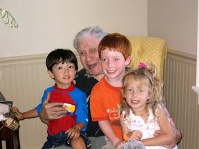 Al with 3 of his great grandchildren: Kai, Matthew, and Alexandra, July 2004
