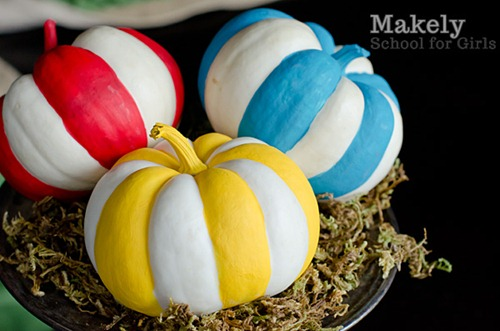 Striped Painted Pumpkins