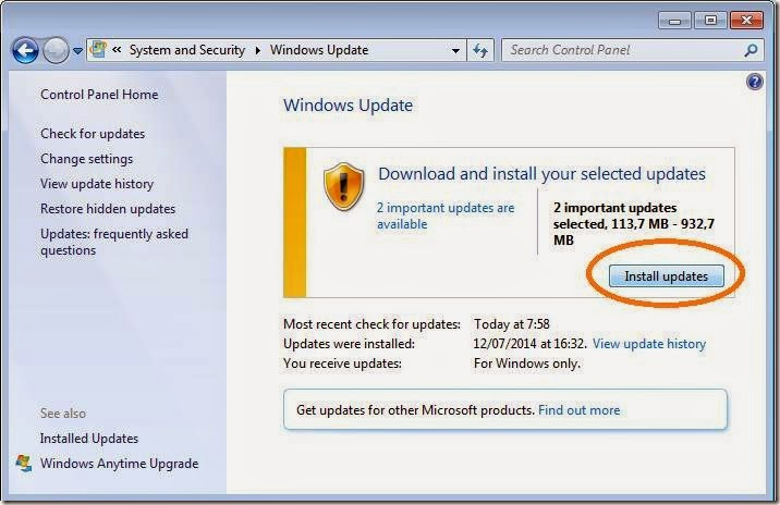 cara menginstall update windows 7